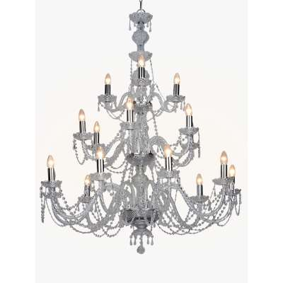 Impex Modra Crystal Chandelier Ceiling Light, Clear/Chrome