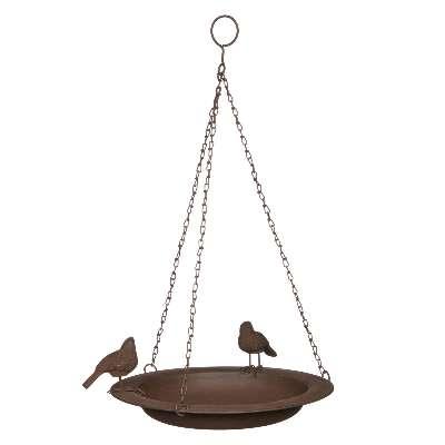 Ivyline Cast Iron Hanging Bird Bath, Bronze