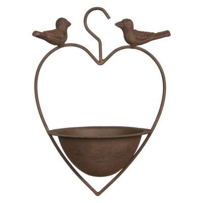 Ivyline Cast Iron Heart Shaped Bird Feeder, Bronze