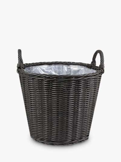 Ivyline Polyrattan Lined Basket Outdoor Planter