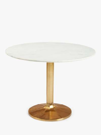John Lewis & Partners Jewel Marble 4 Seater Pedestal Dining Table, White/Gold