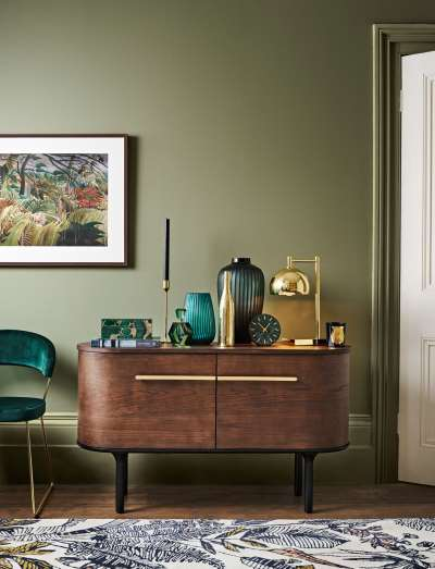 John Lewis & Partners Marble Analogue Mantel Clock, Green/Brass, 14cm