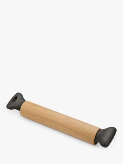 Joseph Joseph Grip-Pin Beech Wood Rolling Pin, Natural/Grey