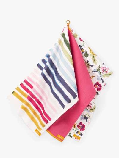 Joules Floral & Striped Cotton Tea Towels, Set of 3, Pink/Multi