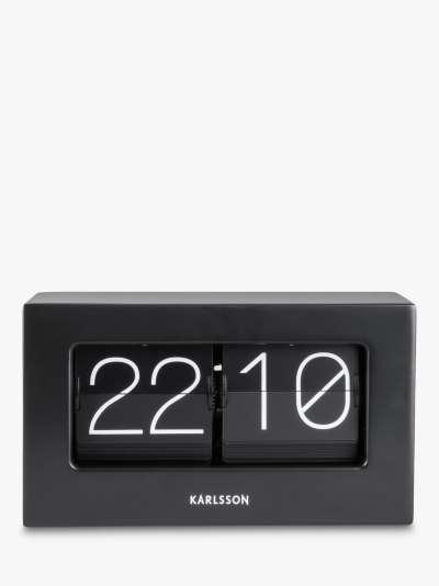 Karlsson Boxed Flip Rubber Wood Table Clock, Black