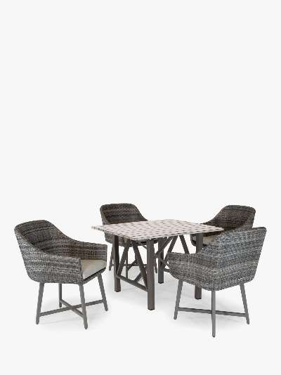 KETTLER LaMode 4 Seat Garden Dining Table and Chairs Set, Brown