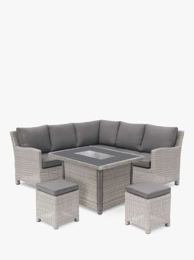 KETTLER Palma 7-Seat Mini Corner Garden Casual Dining Table & Chairs Set with Firepit