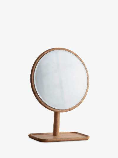 Kingham Oak Wood Dressing Table Mirror & Tray, 46cm, Natural