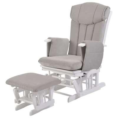 Kub Chatsworth Glider Nursing Chair and Foot Stool, Grey