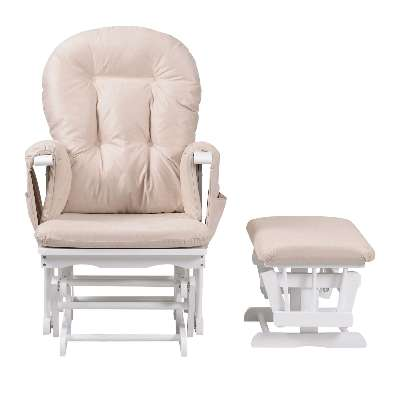 Kub Haywood Reclining Glider Nursing Chair and Footstool, White