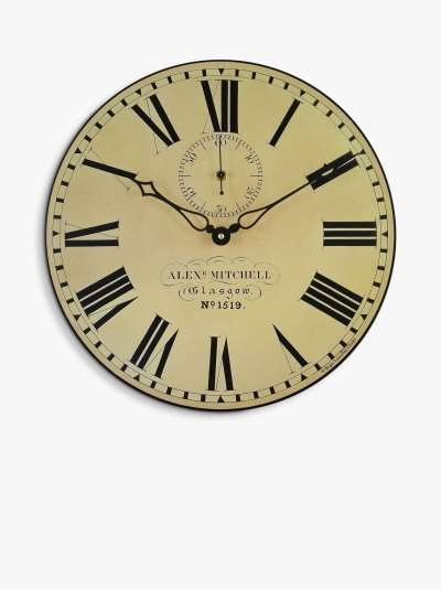 Lascelles Glasgow Analogue Roman Numeral Station Wall Clock, Dia.36cm, Cream