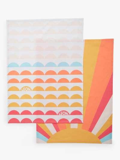 LEON Sun Tea Towels, Pack of 2, Yellow/Multi
