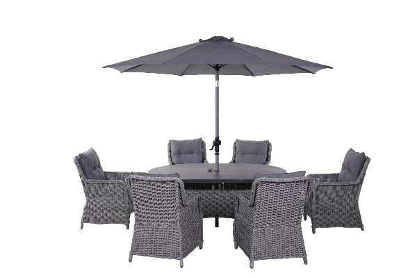 LG Outdoor Salzburg 6-Seat Oval Garden Dining Table & Armchairs Set with Parasol, Dove Grey