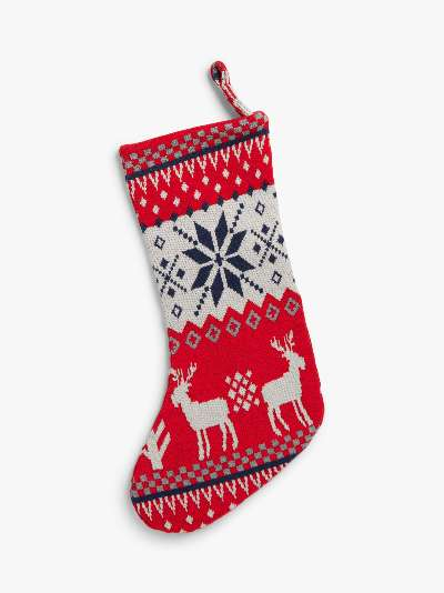 little home at John Lewis Christmas Stocking, Red