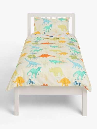 little home at John Lewis Dennis Dinosaur Reversible Cotton Duvet Cover and Pillowcase Set, Single, Green