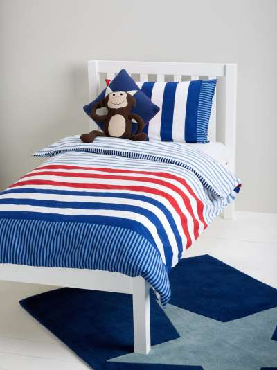 little home at John Lewis Stars and Stripes Reversible Cotton Duvet Cover and Pillowcase Set, Single, Multi