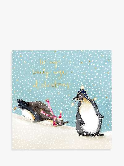 Louise Mulgrew Designs Penguins Lovely Wife Christmas Card