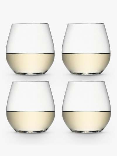 LSA International Wine Collection Stemless White Wine Glasses, 370ml, Set of 4