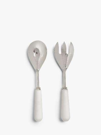 John Lewis & Partners Marble Handle Salad Servers, Set of 2, White/Silver