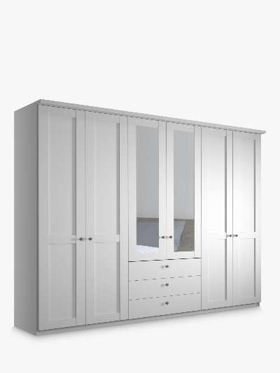 John Lewis & Partners Marlow 100cm Hinged Wardrobe with Right Mirror & 3 Drawers