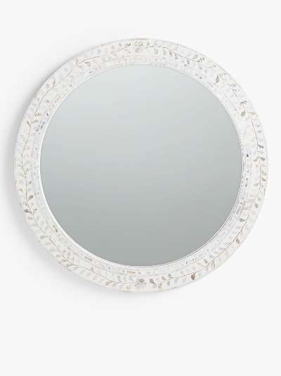 John Lewis & Partners Mother Of Pearl Leaves Round Wall Mirror