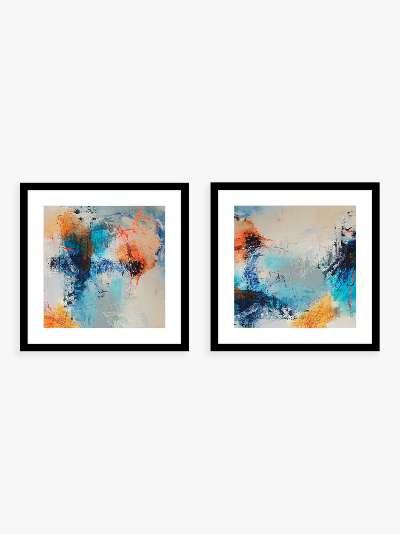 Natasha Barnes - 'Promise' Abstract Framed Prints & Mounts, Set of 2, 62.5 x 62.5cm, Blue/Multi