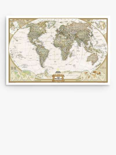 National Geographic Antique Style Earth Illuminated Globe, 37cm, Brown/Multi