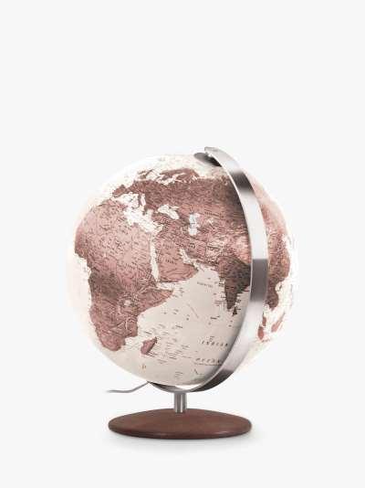 Nova Rico Rae Illuminated Freestanding Globe with Wood Base, Brown, 37cm