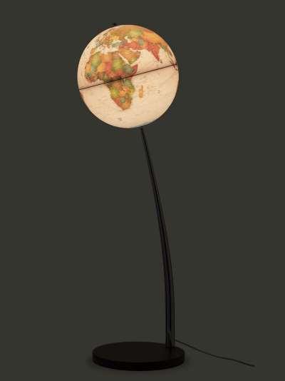 Nova Rico Vertigo Illuminated Freestanding Globe with Wood Base, Brown, 37cm