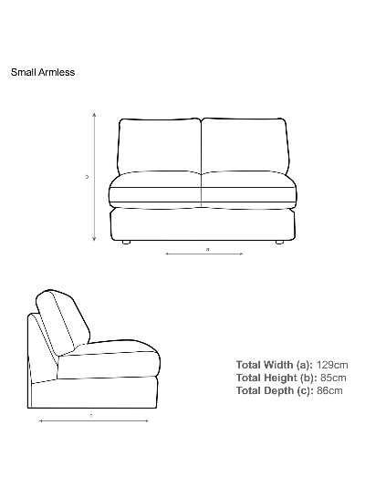 John Lewis & Partners Oliver Modular Small 2 Seater Armless Sofa Unit