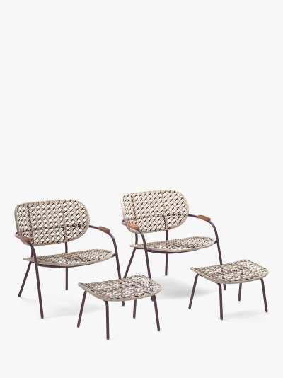 John Lewis & Partners Open Weave Garden Chairs & Footstools, Set of 2