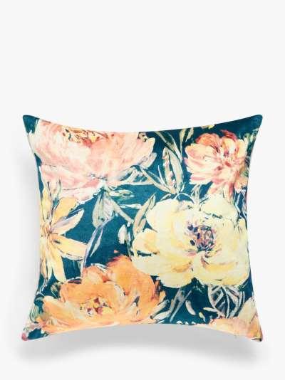John Lewis & Partners Peony Garden Floral Cushion, Fjord