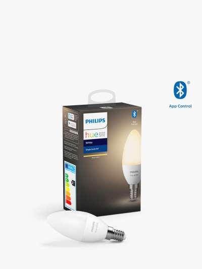 Philips Hue White Wireless Lighting LED Light Bulb with Bluetooth, 5.5W B39 E14 Small Edison Screw Bulb, Single