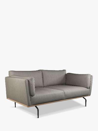 John Lewis & Partners Platform Medium 2 Seater Sofa, Black Leg, Relaxed Linen Storm