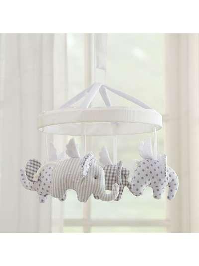 Pottery Barn Kids Flying Elephant Crib Mobile, Grey/White