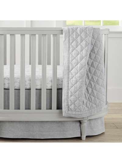 Pottery Barn Kids Linen Toddler Bed Quilt, Grey