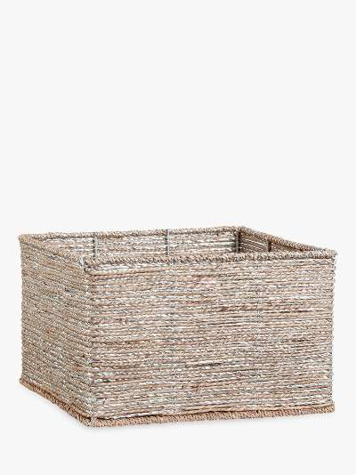 Pottery Barn Kids Small Rope Storage Basket, Silver