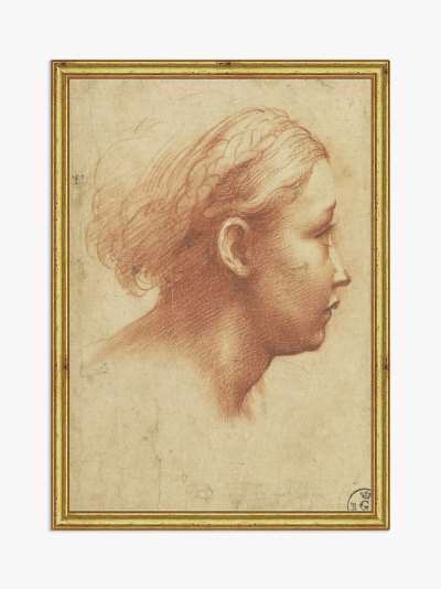 Raphael - Parmagiano Drawing Wood Framed Print, 26 x 18cm, Natural/Gold