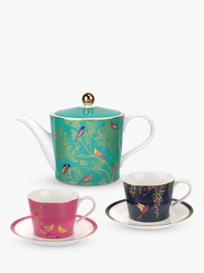 Sara Miller Chelsea Collection 1.1L Teapot & Tea Cup & Saucer Gift Set, Multi