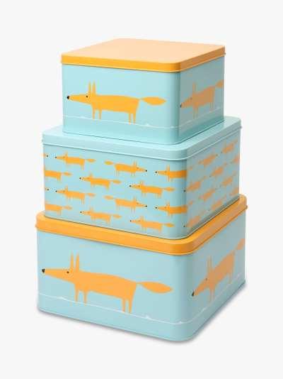 Scion Mr Fox Square Cake Tins, Set of 3, Blue/Orange