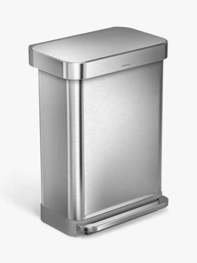 simplehuman Liner Pocket Pedal Bin, Brushed Stainless Steel, 55L