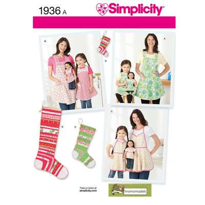 Simplicity Women's and Children's Aprons and Christmas Stockings Sewing Pattern, 1936