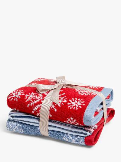 John Lewis & Partners Snowflake Hand Towels, Pack of 2, Red/Blue