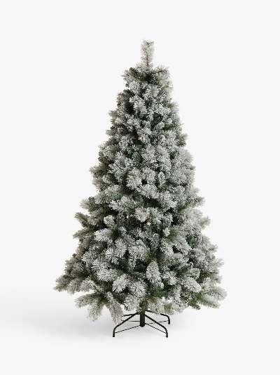 John Lewis & Partners Snowy Fireside Unlit Christmas Tree, 7ft