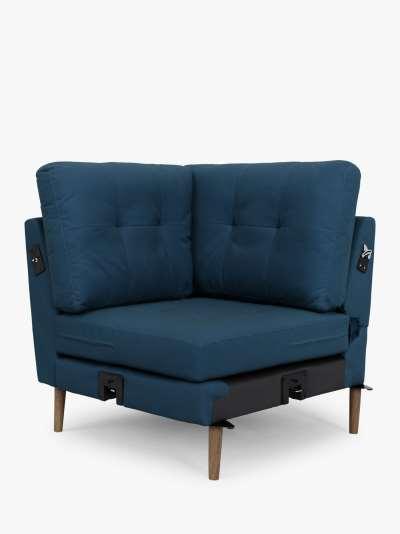 Sofi Modular Sofa Corner Seat Unit, Dark Leg, Navy Velvet