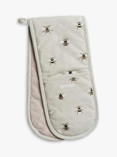 Sophie Allport Bee Double Oven Glove, Green/Multi