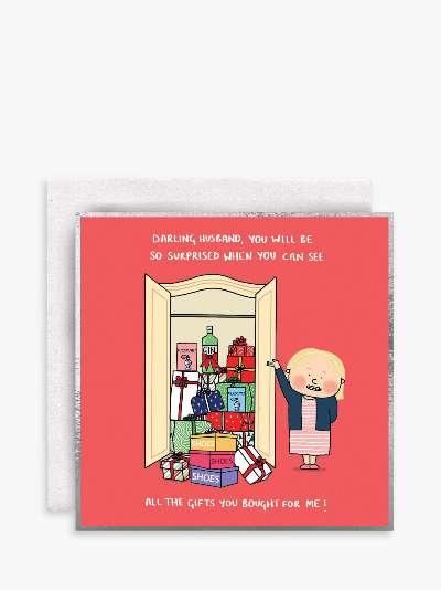 Susan O'Hanlon Surprise Gifts Husband Christmas Card
