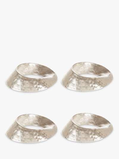 John Lewis & Partners Swirl Napkin Rings, Set of 4, Silver