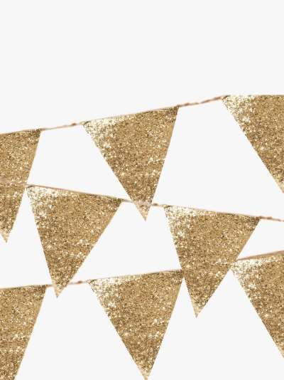Talking Tables Luxe Gold Glitter Bunting, 3m