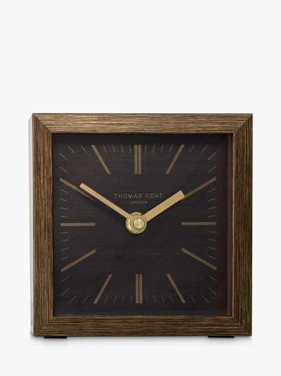 Thomas Kent Square Wood-Effect Analogue Mantel Clock, 14cm, Graphite/Taupe